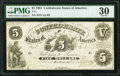 Confederate Notes:1861 Issues, T11 $5 1861 Cr. 44 PMG Very Fine 30.. ...