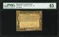 Colonial Notes:Maryland, Maryland August 14, 1776 $6 PMG Choice Extremely Fine 45.. ...