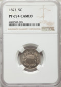 Proof Shield Nickels: , 1872 5C PR65+ Cameo NGC. NGC Census: (28/17 and 1/2+). PCGS Population: (21/34 and 0/6+). PR65. ...
