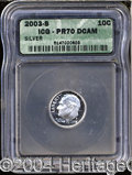 Proof Roosevelt Dimes: , 2003-S Silver PR 70 Deep Cameo ICG. ...