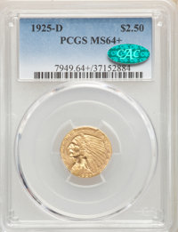 1925-D $2 1/2 MS64+ PCGS. CAC. PCGS Population: (2729/731). NGC Census: (3650/1065). CDN: $500 Whsle. Bid for NGC/PCGS M...