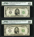 Fr. 1958-B; C $5 1934B Federal Reserve Notes. PMG Graded Choice Extremely Fine 45; Very Fine 30