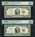 Small Size:Legal Tender Notes, Fr. 1513 $2 1963 Legal Tender Notes. Two Examples. PMG Graded Choice Uncirculated 64 EPQ; Superb Gem Unc 67 EPQ.. ... (Total: 2 notes)