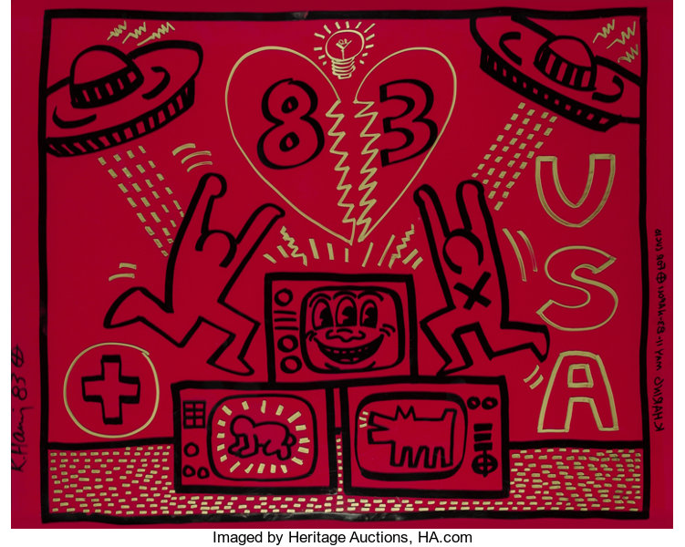 Paintings, Keith Haring (1958-1990) Untitled, 1...
