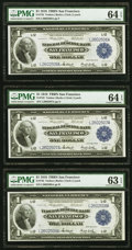 Large Size:Federal Reserve Bank Notes, Three Consecutive Fr. 743 $1 1918 Federal Reserve Bank Note PMG Graded Choice Uncirculated 64 EPQ (2); Choice Uncirculated 63 ... (Total: 3 notes)