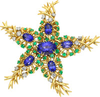 Tanzanite, Emerald, Diamond, Platinum, Gold Brooch, Schlumberger for Tiffany & Co