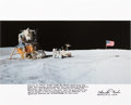 Explorers:Space Exploration, Charlie Duke Signed Large Apollo 16 Lunar Surface Color Photo with Handwritten Mission Summary....