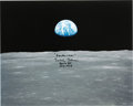 "Explorers:Space Exploration, Michael Collins Signed Large Apollo 11 ""Earthrise"" Color Photo. ..."