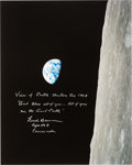 """Explorers:Space Exploration, Frank Borman Signed Large Apollo 8 """"Earthrise"""" Color Photo with Added Quote from the Christmas Eve Broadcast. ..."""