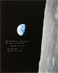 """Explorers:Space Exploration, Frank Borman Signed Large Apollo 8 """"Earthrise"""" Color Photo with Added Biblical Quote from the Christmas Eve Broadcast."""
