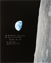"Frank Borman Signed Large Apollo 8 ""Earthrise"" Color Photo with Added Biblical Quote from the Christmas Eve Br..."