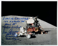 Gene Cernan Signed Apollo 17 Lunar Surface Lunar Module & Lunar Roving Vehicle Color Photo