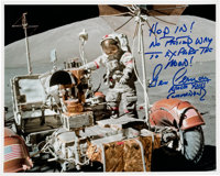 Gene Cernan Signed Apollo 17 Lunar Surface LRV Color Photo with Unique Quote
