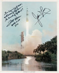 Explorers:Space Exploration, Apollo 13 Launch Color Photo Signed by Lovell and Haise. ...