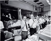 Apollo 13: NASA Mission Control Photo Signed by Gene Kranz, Chris Kraft, Gerry Griffin, and Glynn Lunney