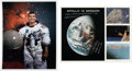 Explorers:Space Exploration, Fred Haise Signed Color Photos (Two), One White Spacesuit, One Mission Collage. ... (Total: 2 Items)