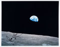 """Explorers:Space Exploration, Apollo 8: James Lovell Signed """"Earthrise"""" Color Photo. ..."""