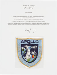 """Apollo 10 Flown Embroidered Mission Insignia """"Post-Flight"""" Crew Patch Directly from the John W. Young Collecti..."""