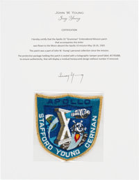 """Apollo 10 Flown Embroidered Mission Insignia """"Grumman"""" Crew Patch Directly from the John W. Young Collection..."""