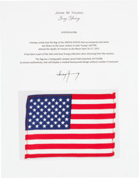 Apollo 16 Lunar Module Flown American Flag Directly from the John W. Young Collection, with Letter of Certification