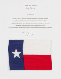 Apollo 16 Flown Texas State Flag Directly from the John W. Young Collection, with Letter of Certification