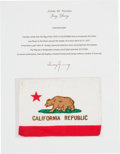 Explorers:Space Exploration, Apollo 16 Flown California Flag Directly from the John W. Young Collection, with Letter of Certification. ...