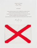 Explorers:Space Exploration, Apollo 16 Flown Alabama Flag Directly from the John W. Young Collection, with Letter of Certification....