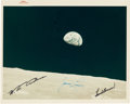 """Explorers:Space Exploration, Apollo 8: """"Earthrise"""" Original NASA """"Red Number"""" Color Photo, AS8-14-2383, with Autopen Crew Signatures. ..."""