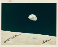 "Apollo 8: ""Earthrise"" Original NASA ""Red Number"" Color Photo, AS8-14-2383, with Autopen Crew Signatu..."