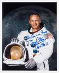 Explorers:Space Exploration, Buzz Aldrin Signed Apollo 11 White Spacesuit Color Photo with Added Comment. ...