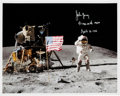 "Explorers:Space Exploration, John Young Signed Apollo 16 Lunar Surface ""Leaping"" Flag Salute Color Photo. ..."