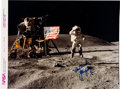 """Explorers:Space Exploration, John Young Signed Apollo 16 Lunar Surface """"Leaping"""" Flag Salute Official NASA Modern Red Number Color Photo. ..."""
