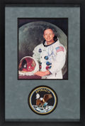 Explorers:Space Exploration, Neil Armstrong Signed, Uninscribed White Spacesuit Color Photo Matted and Framed with an Embroidered Apollo 11 Mission Insign...