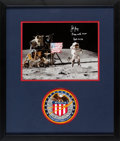 "Explorers:Space Exploration, John Young Signed Apollo 16 Lunar Surface ""Leaping Flag Salute"" Color Photo Matted and Framed with an Embroidered Mission Insi..."