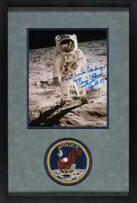 "Buzz Aldrin Signed Apollo 11 Lunar Surface ""Visor"" Color Photo Matted and Framed with a Lions Brothers Embroid..."