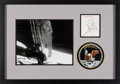 "Explorers:Space Exploration, Neil Armstrong Signature Matted and Framed with a ""First Step"" Photo and an Embroidered Mission Insignia Patch. ..."