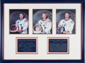 Explorers:Space Exploration, Apollo 11: Matching Individually-Signed White Spacesuit Color Photos Elaborately Matted and Framed with Custom Engraved Plaqu...