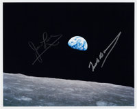 "Apollo 8: Frank Borman and James Lovell Signed ""Earthrise"" Color Photo"