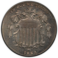 1883/2 5C FS-303 MS62 PCGS. CAC. PCGS Population: (4/5 and 0/1+). NGC Census: (1/7 and 0/0+). MS62. Mintage 1,456,919...