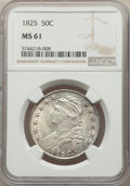 Bust Half Dollars: , 1825 50C MS61 NGC. NGC Census: (40/232). PCGS Population: (15/246). CDN: $875 Whsle. Bid for NGC/PCGS MS61. Mintage 2,900,0...