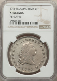1795 $1 Flowing Hair, Three Leaves -- Cleaned -- NGC Details. XF. Mintage 160,295....(PCGS# 6852)