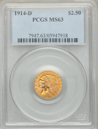 1914-D $2 1/2 MS63 PCGS. PCGS Population: (1345/853). NGC Census: (1493/1059). CDN: $800 Whsle. Bid for NGC/PCGS MS63. M...