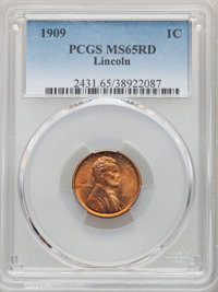 1909 1C MS65 Red PCGS. PCGS Population: (1173/644). NGC Census: (409/197). CDN: $90 Whsle. Bid for NGC/PCGS MS65. Mintag...
