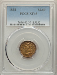 1838 $2 1/2 XF45 PCGS. PCGS Population: (36/132). NGC Census: (48/231). CDN: $775 Whsle. Bid for NGC/PCGS XF45. Mintage...