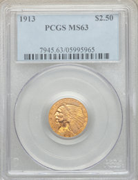 1913 $2 1/2 MS63 PCGS. PCGS Population: (1497/1107). NGC Census: (1703/1068). CDN: $500 Whsle. Bid for NGC/PCGS MS63. Mi...