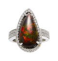 Estate Jewelry:Rings, Black Opal, Diamond, White Gold Ring The ring ...