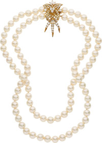 Diamond, Cultured Pearl, Gold Necklace