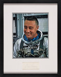 Explorers:Space Exploration, Mercury Seven: Gus Grissom Signature Matted and Framed with a Silver Spacesuit Color Photo. ...