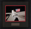 """Explorers:Space Exploration, Alan Shepard Signature Matted and Framed with an Apollo 14 Lunar Surface """"Flag"""" Color Photo. ..."""