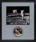 Explorers:Space Exploration, Buzz Aldrin Signed Apollo 11 Lunar Surface Flag Color Photo Matted and Framed with an Embroidered Mission Insignia Patch....